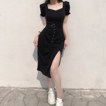 Dress Summer 2021 black S,M,L Short skirt singleton  Short sleeve commute square neck High waist Solid color Socket Princess Dress routine Others 18-24 years old Type H TUMAD10030 31% (inclusive) - 50% (inclusive) polyester fiber
