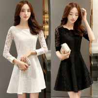 Dress Autumn of 2018 White (lace collar) black (lace collar) white (wave collar) black (wave collar) S M L XL 2XL 3XL Middle-skirt singleton  Long sleeves commute Crew neck middle-waisted Solid color zipper A-line skirt routine 18-24 years old Type A Lisa Korean version Stitched zipper lace other