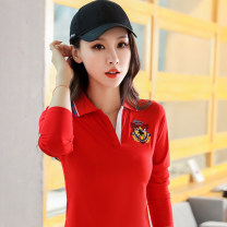 T-shirt Red yellow royal blue M L XL 2XL 3XL 4XL Spring 2020 Long sleeves Polo collar easy Regular routine commute cotton 96% and above 25-29 years old Korean version originality Solid color Xufuchsi / xufenqi XFQ1916 Cotton 95.8% polyurethane elastic fiber (spandex) 4.2%