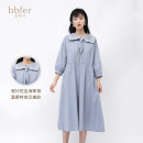 Dress Spring 2021 Water mist blue F longuette singleton  Long sleeves commute Polo collar High waist Solid color Single breasted A-line skirt routine 25-29 years old Type A BBFER / Ben Yifan Korean version Button More than 95% cotton Cotton 100% Same model in shopping mall (sold online and offline)