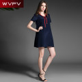 Dress Summer 2017 dark blue S,M,XL Short skirt singleton  Short sleeve commute Crew neck Loose waist Solid color Socket A-line skirt routine Others 25-29 years old Type A Simplicity other