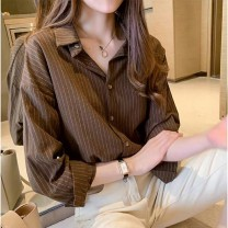 shirt Khaki, white S,M,L,XL,2XL Autumn 2020 polyester fiber 51% (inclusive) - 70% (inclusive) Long sleeves square neck Single row multi button routine stripe 18-24 years old Straight cylinder Other / other