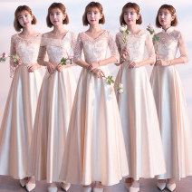 Dress / evening wear Wedding ceremony company annual meeting performance S M L XL XXL XXXL Korean version middle-waisted Winter of 2018 Self cultivation One shoulder Bandage 26-35 years old flower Xuanping Polyester 90% other 10% Pure e-commerce (online only)