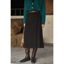skirt Winter 2020 S. M, l, s (presale), m (presale), l (presale) Black, milky brown Mid length dress commute High waist A-line skirt Solid color Type A 5D1111Q03XD More than 95% other solighter other fold Retro
