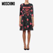 Dress Spring 2021 Black 2888 038 040 042 044 Middle-skirt singleton  elbow sleeve commute Crew neck Decor Socket routine 18-24 years old MOSCHINO / MOSCHINO A0418052621P More than 95% cotton Cotton 97% polyurethane elastic fiber (spandex) 3%