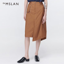 skirt Summer 2020 S M L XL Walnut longuette commute High waist A-line skirt Solid color 25-29 years old More than 95% theMSLAN cotton pocket Cotton 100%