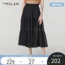 skirt Summer 2020 S M L Carbon black Emerald Mid length dress commute High waist Pleated skirt 25-29 years old BBA683209neQg More than 95% theMSLAN polyester fiber Simplicity Polyester 100%