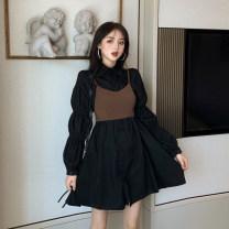 Women's large Autumn of 2019 black M [80-100 Jin], l [100-120 Jin], XL [120-135 Jin], XXL [135-150 Jin], 3XL [150-165 Jin], 4XL [165-180 Jin] Long sleeves Solid color puff sleeve 81% (inclusive) - 90% (inclusive)