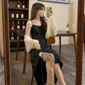 Dress Summer 2021 black L [100-120 Jin], XL [120-135 Jin], 2XL [135-150 Jin], 3XL [150-165 Jin], 4XL [165-180 Jin] Sleeveless Bows, lace other