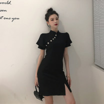 Dress Summer 2021 black M [90-100 Jin], l [100-120 Jin], XL [120-135 Jin], 2XL [135-150 Jin], 3XL [150-165 Jin], 4XL [165-180 Jin] Short sleeve