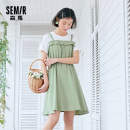 Dress Summer 2021 Green white 0141 red white 0161 blue white 0181 150/76A/XS 155/80A/S 160/84A/M 165/88A/L 170/92A/XL 175/96A/XXL 180/100A/XXXL Mid length dress singleton  Short sleeve commute Crew neck middle-waisted other Socket other routine Others 18-24 years old Type H Semir / SEMA Button other