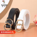 Belt / belt / chain Double skin leather 0394a - white 0394a - Black 0384a - white 0384a - Black 8813a - white 8793a - Black 88033a - red 0344a - yellow 0314a - brown 0324a - apricot 0334a - Orange female belt literature Single loop Youth Double buckle Double button Glossy surface 2.3cm alloy alone