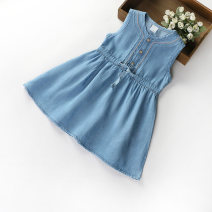 Dress Denim blue female New ideas 100cm 110cm 120cm 130cm 140cm 150cm 160cm Other 100% summer Korean version Skirt / vest Solid color cotton Denim skirt XJ1316 Class B Spring 2021 Three years old, four years old, five years old, six years old, seven years old, eight years old, nine years old