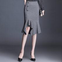 skirt Spring 2021 M,L,XL,2XL,3XL,4XL grey Middle-skirt commute High waist skirt lattice Type X 35-39 years old YNNS21030 71% (inclusive) - 80% (inclusive) other polyester fiber Button, zipper Korean version