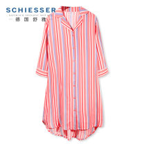 Nightdress Schiesser / Shuya orange S,M,L,XL,XXL Simplicity three quarter sleeve Leisure home Middle-skirt summer stripe youth Small lapel polyester cotton More than 95% polyester cotton 31-18061D 200g and below