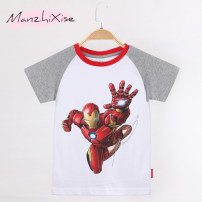 T-shirt Diffuse fine color 100, 110, 120, 130, 140, 150 neutral summer Short sleeve Crew neck leisure time No model nothing Pure cotton (100% cotton content) Cartoon animation Cotton 100% Class B Sweat absorption 2, 3, 4, 5, 6, 7, 8, 9, 10, 11, 12 years old