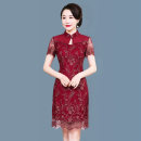 Middle aged and old women's wear Summer 2021 gules M (recommended under 105 kg), l (recommended 105-115 kg), XL (recommended 115-125 kg), 2XL (recommended 125-135 kg), 3XL (recommended 135-145 kg), 4XL (recommended 145-160 kg) ethnic style Dress Straight cylinder singleton  Decor 40-49 years old Lace