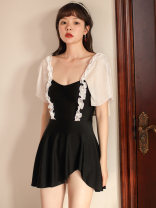 one piece  VICKI·VICKI Female m (recommended 80-100kg) female L (recommended 100-112kg) m female XL (recommended 112-125kg) black Skirt one piece With chest pad without steel support Spandex polyester others V20316 Autumn 2020 female Short sleeve Casual swimsuit