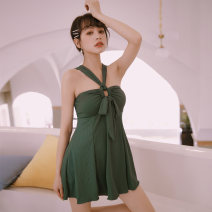 one piece  VICKI·VICKI Female m (recommended 80-100kg) female L (recommended 100-112kg) female XL (recommended 112-125kg) blackish green Skirt one piece With chest pad without steel support Spandex polyester others V9048 Winter of 2019 female Sleeveless