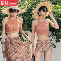 Couple swimsuit Sea swim Female m (recommended 80-100kg) female L (recommended 100-112kg) female XL (recommended 112-125kg) Caramel Spandex polyester others Autumn of 2019 female