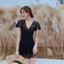 one piece  DUDU&MUMU Female m (recommended 80-100kg) female L (recommended 100-112kg) female XL (recommended 112-125kg) Skirt one piece Steel strap breast pad Spandex polyester others Autumn of 2019 female Short sleeve