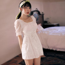 one piece  VICKI·VICKI Female m (recommended 80-100kg) female L (recommended 100-112kg) female XL (recommended 112-125kg) white Skirt one piece With chest pad without steel support Spandex polyester others Winter of 2019 female Short sleeve