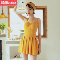 one piece  VICKI·VICKI M (recommended 80-100kg) l (recommended 100-112kg) XL (recommended 112-125kg) Yellow white Skirt one piece With chest pad without steel support Spandex polyester others V8199 Autumn of 2019 female Sleeveless Casual swimsuit