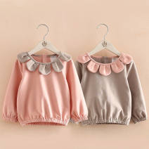T-shirt Five ears pink top bottom coat, five ears gray top bottom coat, embroidered spring and autumn bottom coat pink Other / other 100y(90cm),110y(100cm),120y(110cm),130y(120cm),140y(130cm) female Long sleeves Artificial colored cotton Solid color 3 months bow