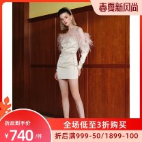 Dress Winter of 2019 Off white 4,6,8,10,12 Short skirt singleton  Long sleeves commute One word collar High waist Solid color Pencil skirt routine camisole Retro tassels LA08-D15