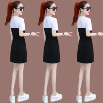 Middle aged and old women's wear Summer 2021 Turmeric pink denim blue black M L XL 2XL commute Dress easy singleton  Solid color Socket moderate Crew neck routine 26569D52Q Zuo Xun Button other Other 100% 96% and above Pure e-commerce (online only) Medium length other skirt Korean version