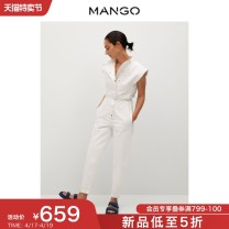 Casual pants white 155/80A/S 160/84A/M 165/88A/L 170/92A/XL 175/96A/XXL Spring 2021 trousers Jumpsuit High waist Versatile routine 25-29 years old 96% and above MANGO cotton Cotton 100% Same model in shopping mall (sold online and offline)