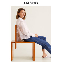 Jeans Autumn of 2018 navy blue 155/58A 160/62A 165/66A 165/70A 170/74A 175/78A trousers High waist Straight pants 25-29 years old MANGO Cotton 100% Same model in shopping mall (sold online and offline)