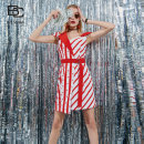 Dress Summer 2020 Red bar S/34,M/36,L/38,XL/40 Short skirt singleton  Short sleeve commute Slant collar other zipper routine 25-29 years old Type A bcvoga lady other