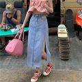 skirt Summer 2021 S,M,L Blue, black Mid length dress commute High waist Denim skirt Solid color Type A 18-24 years old Q 81% (inclusive) - 90% (inclusive) Korean version