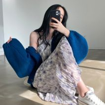 Dress Spring 2021 Picture color Average size Mid length dress singleton  Sleeveless commute One word collar High waist other Socket A-line skirt routine camisole 18-24 years old Type A Korean version Q 81% (inclusive) - 90% (inclusive)