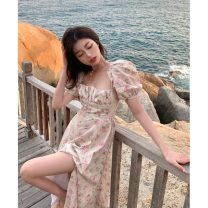 Dress Summer 2021 Broken flowers S, M Mid length dress singleton  Short sleeve commute square neck High waist Broken flowers Socket A-line skirt puff sleeve Others 18-24 years old Type A Korean version K 81% (inclusive) - 90% (inclusive) other