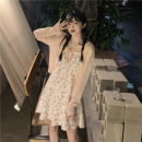 Dress Summer 2021 knitting , braces skirt Average size Short skirt Two piece set Sleeveless commute One word collar High waist Broken flowers Socket A-line skirt routine camisole 18-24 years old Type A Korean version Z 81% (inclusive) - 90% (inclusive)