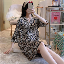 Nightdress Other / other sexy three quarter sleeve pajamas Short skirt summer Cartoon animation youth Shirt collar Polyester (polyester) printing More than 95% 200g and below