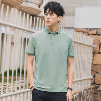 T-shirt Youth fashion Black white gray pink bean green thin M L XL 2XL 3XL Gebotoo / geboto Short sleeve Lapel Self cultivation daily summer GBT-Z827GY Cotton 95% polyurethane elastic fiber (spandex) 5% youth routine Youthful vigor Cotton wool Summer 2021 Solid color Yichun UNIQLO Hailan home other