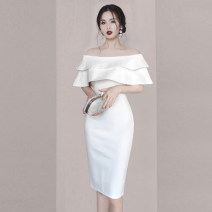 Dress Summer 2020 S M L XL longuette singleton  Short sleeve commute One word collar High waist Solid color zipper One pace skirt Lotus leaf sleeve 25-29 years old Type X Dai Wan'er zipper More than 95% polyester fiber