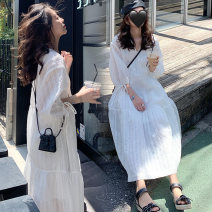 Dress Euphemism M L XL XXL Korean version Short sleeve Medium length summer V-neck Solid color