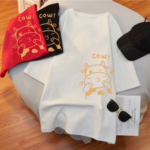 T-shirt White, black, red M L XL 2XL 3XL 4XL 5XL Summer 2021 Short sleeve Crew neck easy Regular routine commute cotton 96% and above 18-24 years old Korean version originality Cartoon animation Biling R8212 printing Cotton 100% Pure e-commerce (online only)