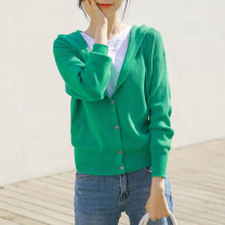 Wool knitwear Autumn of 2019 XL S M L Green black apricot Long sleeves singleton  Cardigan other More than 95% Regular routine commute easy Hood routine Solid color Single breasted Korean version ST1124-1 18-24 years old Little girl Other 100% Pure e-commerce (online only)