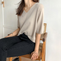 Wool knitwear Summer of 2019 S M L XL elbow sleeve singleton  Socket other More than 95% Regular Thin money commute easy V-neck routine Solid color Socket Korean version 18-24 years old Little girl Other 100% Pure e-commerce (online only)