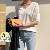 Wool knitwear Spring 2020 S M L XL elbow sleeve singleton  Socket other More than 95% Regular ultrathin commute easy V-neck routine Solid color Socket Korean version 18-24 years old Little girl Other 100% Pure e-commerce (online only)