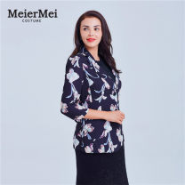 suit Polyester 100% Spring 2017 Mei and Mei routine three quarter sleeve tailored collar Single breasted Self cultivation polyester fiber Versatile MCJQ03300 96% and above Plants and flowers 35-39 years old printing 36 38 40 42 44 46 48 H81 black pink flower