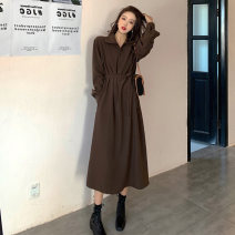 Dress Spring 2020 Brown Black S M L XL Mid length dress singleton  Long sleeves commute V-neck High waist Solid color Three buttons A-line skirt routine Others 18-24 years old Type A Korean version More than 95% other Other 100% Pure e-commerce (online only)