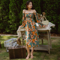 Dress Autumn 2020 Picture color Average size Mid length dress singleton  Long sleeves Sweet One word collar High waist Decor Socket A-line skirt routine Breast wrapping Type H Other / other printing polyester fiber Bohemia