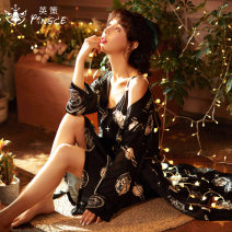 Nightdress Cse  SGM-1100 160(M) 165(L) 170(XL) 175(XXL) luxurious Long sleeves pajamas Middle-skirt spring Plants and flowers youth Iced silk printing More than 95% Imitation silk SGM-1100 Spring 2021 New polyester fiber 100% Pure e-commerce (online only)