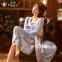 Pajamas / housewear set female Cse  160(M) 165(L) 170(XL) 175(XXL) Iced silk Long sleeves Sweet pajamas summer Thin money V-neck Plants and flowers trousers double-breasted youth 2 pieces rubber string More than 95% silk printing New polyester fiber 100% Spring 2021 Middle-skirt